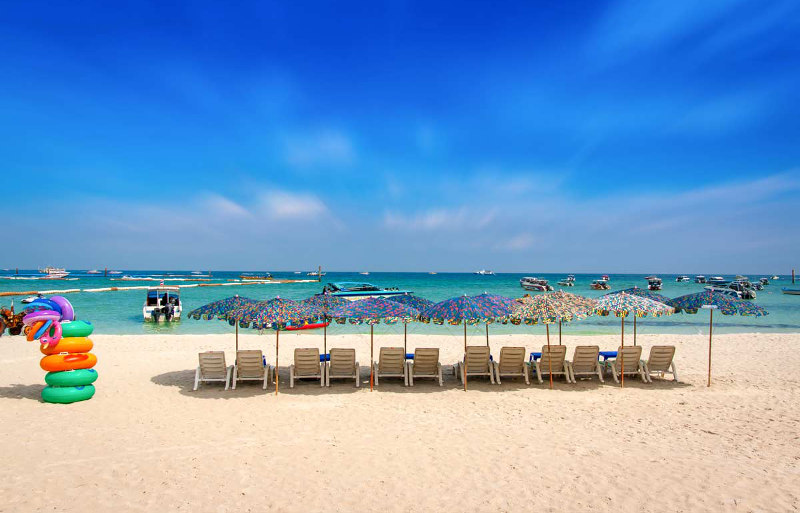 пляж, Паттайя, Тайланд, Банг, Саен, Пратамнак, Кресент, Вонгамант