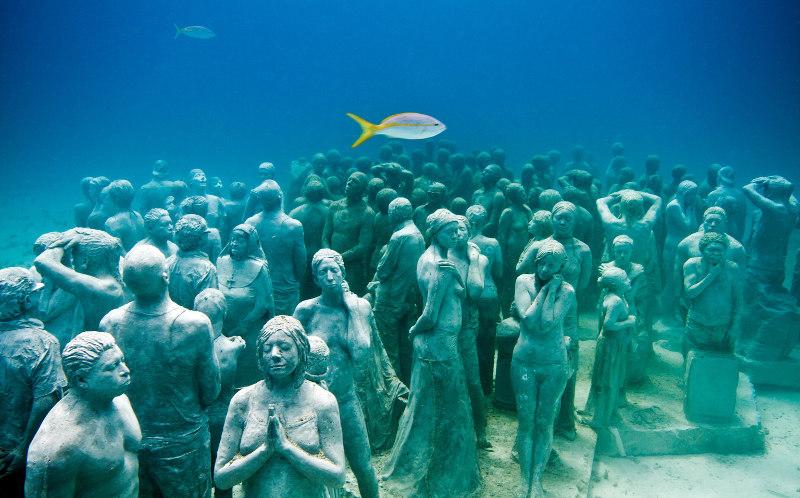 статуи, подводные, вода, океан, Египет, Бали, Гераклион, Мексика