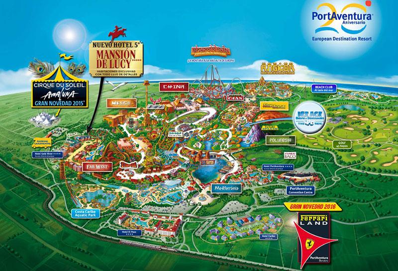 Карта аттракционов парка Порт Авентуры